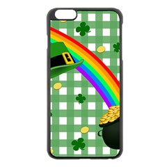 St  Patrick s Day Rainbow Apple Iphone 6 Plus/6s Plus Black Enamel Case by Valentinaart