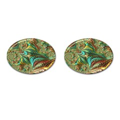 Fractal Artwork Pattern Digital Cufflinks (oval)