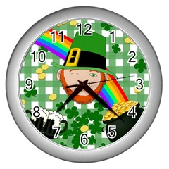 Lucky Irish Wall Clocks (silver)  by Valentinaart