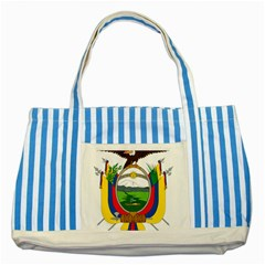 Coat Of Arms Of Ecuador Striped Blue Tote Bag by abbeyz71