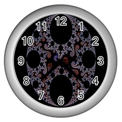 Fractal Complexity Geometric Wall Clocks (silver)  by Nexatart