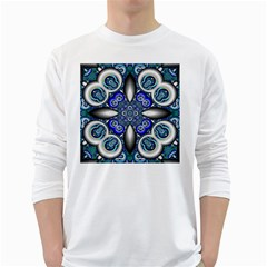 Fractal Cathedral Pattern Mosaic White Long Sleeve T Shirts
