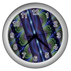 Fractal Blue Lines Colorful Wall Clocks (silver)  by Nexatart