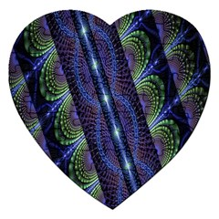 Fractal Blue Lines Colorful Jigsaw Puzzle (heart)