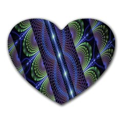 Fractal Blue Lines Colorful Heart Mousepads