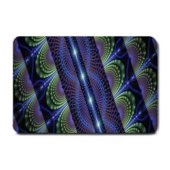 Fractal Blue Lines Colorful Small Doormat  by Nexatart