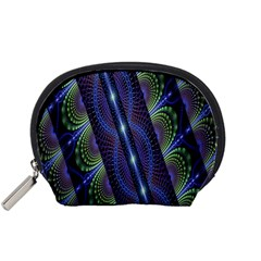 Fractal Blue Lines Colorful Accessory Pouches (small)  by Nexatart