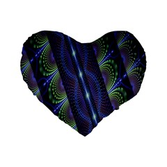 Fractal Blue Lines Colorful Standard 16  Premium Flano Heart Shape Cushions by Nexatart