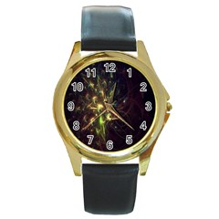 Fractal Flame Light Energy Round Gold Metal Watch by Nexatart