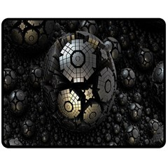 Fractal Sphere Steel 3d Structures Double Sided Fleece Blanket (medium)  by Nexatart