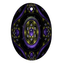 Fractal Sparkling Purple Abstract Oval Ornament (two Sides)