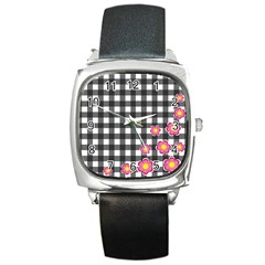 Floral Plaid Pattern Square Metal Watch by Valentinaart