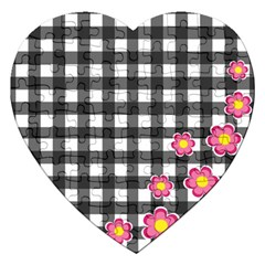 Floral Plaid Pattern Jigsaw Puzzle (heart) by Valentinaart