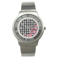 Floral Plaid Pattern Stainless Steel Watch by Valentinaart
