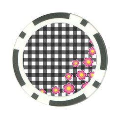 Floral Plaid Pattern Poker Chip Card Guard by Valentinaart