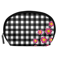 Floral Plaid Pattern Accessory Pouches (large)  by Valentinaart