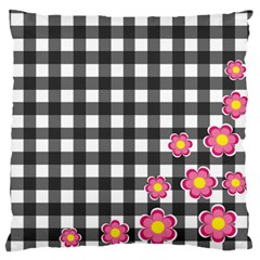 Floral Plaid Pattern Large Flano Cushion Case (two Sides) by Valentinaart