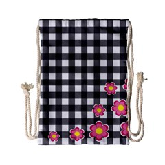 Floral Plaid Pattern Drawstring Bag (small) by Valentinaart