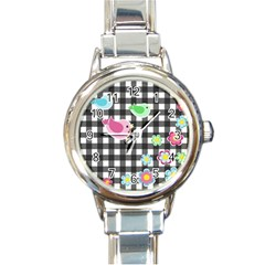 Cute Spring Pattern Round Italian Charm Watch by Valentinaart