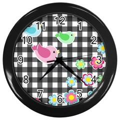Cute Spring Pattern Wall Clocks (black) by Valentinaart
