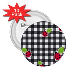 Ladybugs Plaid Pattern 2 25  Buttons (10 Pack)  by Valentinaart