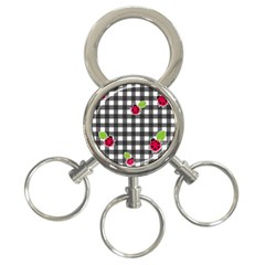 Ladybugs Plaid Pattern 3 Ring Key Chains by Valentinaart