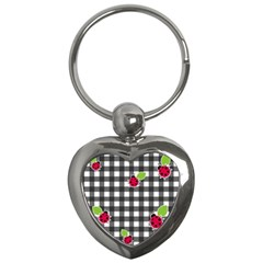 Ladybugs Plaid Pattern Key Chains (heart)  by Valentinaart