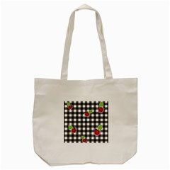 Ladybugs Plaid Pattern Tote Bag (cream) by Valentinaart