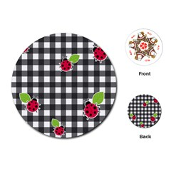 Ladybugs Plaid Pattern Playing Cards (round)  by Valentinaart