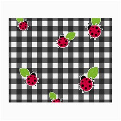 Ladybugs Plaid Pattern Small Glasses Cloth (2 Side) by Valentinaart