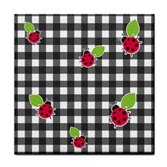 Ladybugs Plaid Pattern Face Towel by Valentinaart