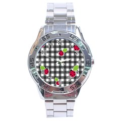Ladybugs Plaid Pattern Stainless Steel Analogue Watch by Valentinaart