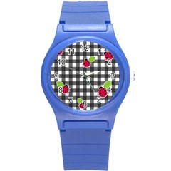 Ladybugs Plaid Pattern Round Plastic Sport Watch (s) by Valentinaart