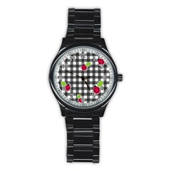 Ladybugs Plaid Pattern Stainless Steel Round Watch by Valentinaart