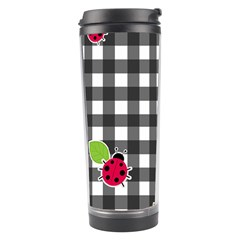 Ladybugs Plaid Pattern Travel Tumbler by Valentinaart