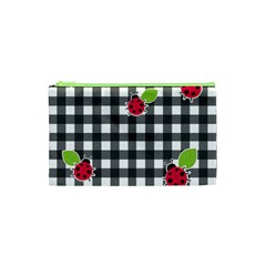 Ladybugs Plaid Pattern Cosmetic Bag (xs) by Valentinaart