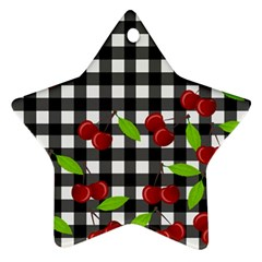 Cherries Plaid Pattern  Ornament (star) by Valentinaart