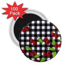 Cherries Plaid Pattern  2 25  Magnets (100 Pack)  by Valentinaart