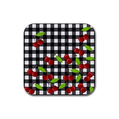 Cherries Plaid Pattern  Rubber Square Coaster (4 Pack)  by Valentinaart