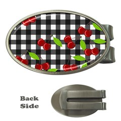 Cherries Plaid Pattern  Money Clips (oval)  by Valentinaart
