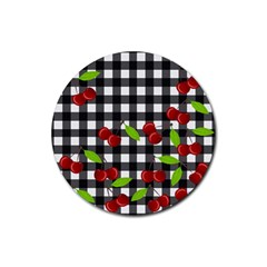 Cherries Plaid Pattern  Rubber Round Coaster (4 Pack)  by Valentinaart