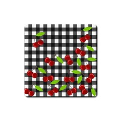 Cherries Plaid Pattern  Square Magnet by Valentinaart