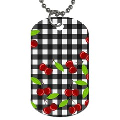 Cherries Plaid Pattern  Dog Tag (two Sides) by Valentinaart