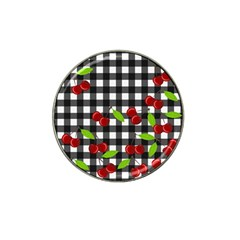 Cherries Plaid Pattern  Hat Clip Ball Marker (4 Pack) by Valentinaart