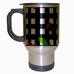 Cherries Plaid Pattern  Travel Mug (silver Gray) by Valentinaart