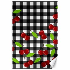 Cherries Plaid Pattern  Canvas 24  X 36  by Valentinaart