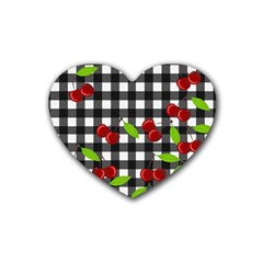 Cherries Plaid Pattern  Rubber Coaster (heart)  by Valentinaart