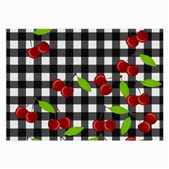 Cherries Plaid Pattern  Large Glasses Cloth by Valentinaart