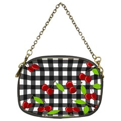 Cherries Plaid Pattern  Chain Purses (two Sides)  by Valentinaart
