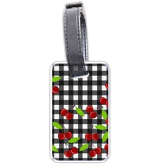 Cherries Plaid Pattern  Luggage Tags (two Sides) by Valentinaart